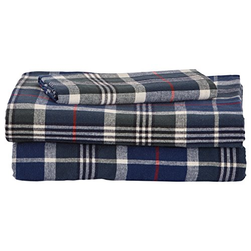 - Stone & Beam Rustic 100% Cotton Plaid Flannel Bed Sheet Set, Easy Care, Twin XL, Blue and Green