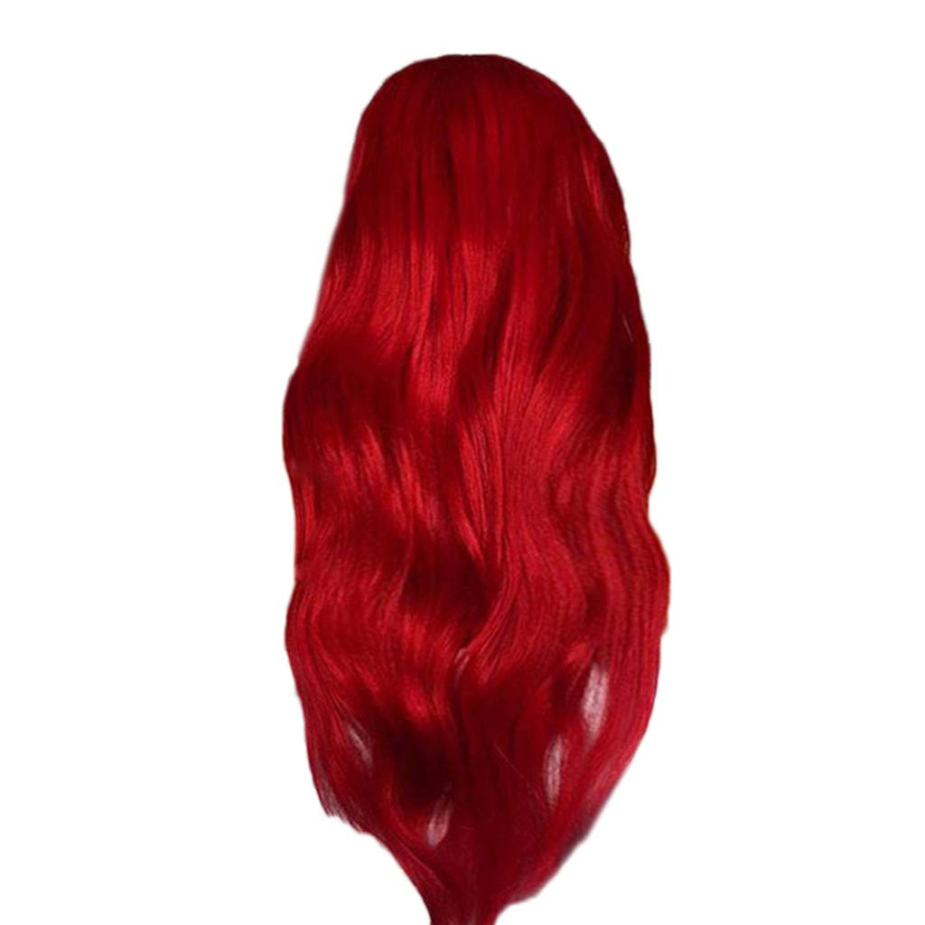 Wig,SUPPION Women's Fashion Front lace Wig Red Synthetic Hair Long Wigs Wave Curly Wig - Cosplay/Party/Costume/Carnival/Masquerade (A) by SUPPION (Image #1)