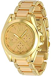 Women's Geneva Roman Numeral Gold Plated Metal/Nylon Link Watch - Beige