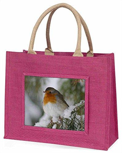 Advanta Robin rot Brust in der Schnee-Baum große Einkaufstasche Weihnachten Geschenk Idee, Jute, Rosa, 42x 34,5x 2cm