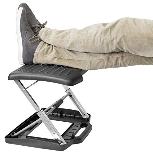 Mount-It! Adjustable Footrest with Massaging Beads Adjustable Height and Angle Office Foot Rest Stool for Under Desk Support, 3-Level Height Adjustment, Black by Mount-It! (Image #7)