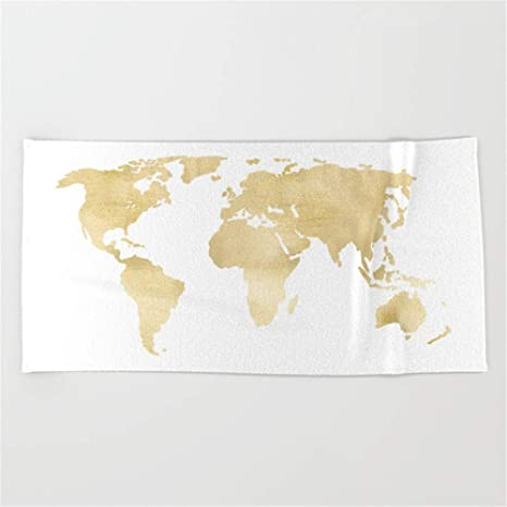 Walnut Cake Toallas de Playa baño Gold World Map Beach Towel 31x51 Inches