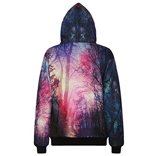 Sasairy Sudadera con capucha de manga larga, con bolsillos grandes, con impresión 3D Forest Galaxy