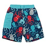 i play. Toddler Boys' Pocket Trunks w/Built-in Reusable Absorbent Swim Diaper, Navy Octopus, 3T