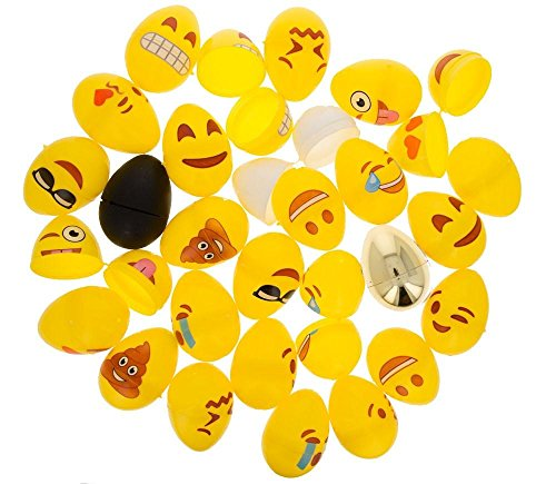 BestPysanky Set of 24 Emoji Eggs + 1 Gold, 1 Black, 1 White & 1 Yellow Plastic Easter Eggs