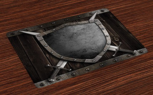 Lunarable Medieval Place Mats Set of 4, Medieval Shield and Crossed Swords on Wood Gate Safety Security Military Theme Art, Washable Fabric Placemats for Dining Room Kitchen Table Decor, Grey -