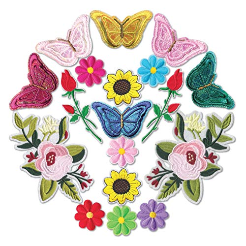 HeyaZea 18pcs Cute Butterfly Flowers Embroidered Iron On Patches Colorful Sewing On Patches Appliques for Clothes Jackets Hats Backpacks Jeans; Kids Children Teens Girls Ladies; Roses DIY Crafts