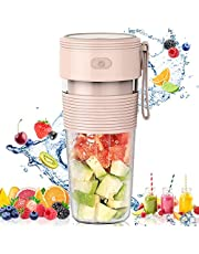 JY&Co. Portable Blender, Juicer Cup, Fruit Mixer  USB Rechargeable Personal Blender for Shakes and Smoothies  New Upgraded Blender for Gym, Travel, Office, Sports, Home, Outdoor (Pink)