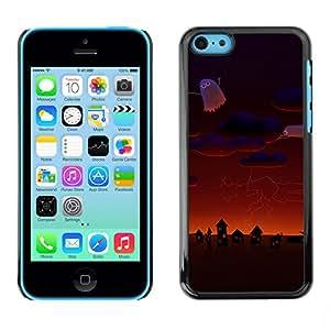 iPhone 5C - Metal de aluminio y de plástico duro Caja del teléfono - Negro - Halloween Pumpkin Cemetary