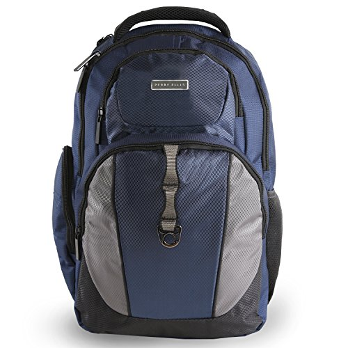 Perry Ellis Men's P19 Business Tablet Pocket Laptop Backpack, Navy, One Size (Bottle Perry Ellis)