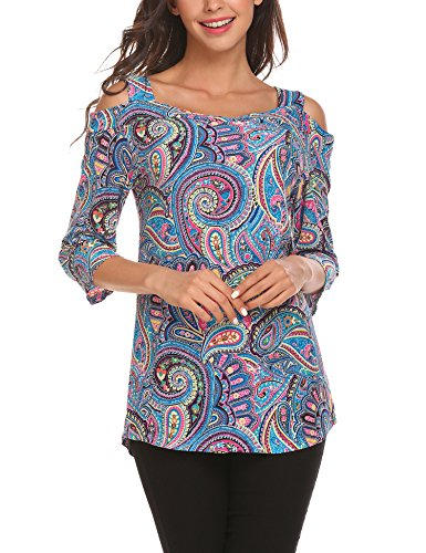 SummerRio Women's 3/4 Sleeve Cold Shoulder Fancy Paisley Tunic Top Shirt