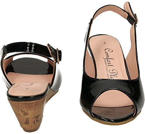 Comfort Plus Wide Fit Slingback Wedge Heel Peep Toe Patent Shoes black patent 14WlN5w0