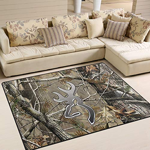 Camouflage Realtree Area Rug 4'x6', Educational Polyester Area Rug Mat for Living Dining Dorm Room Bedroom Home Decorative