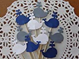 Whale Cupcake Toppers - Navy Blue Grey and White - NEW Larger 1.5'' Whale Food Picks - Party Picks (Set of 24)
