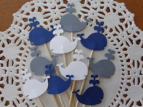 Whale Cupcake Toppers - Navy Blue Grey and White - NEW Larger 1.5