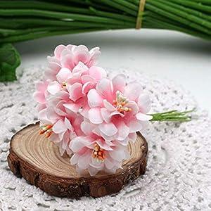 GSD2FF 6pcs Silk Gradient Stamen Artificial Flowers Handmade Bouquet for Wedding Home Decoration DIY Scrapbooking Wreath,Pink 82