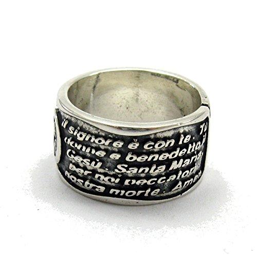 Bague en argent massif 925 anneau Ave Maria R001394