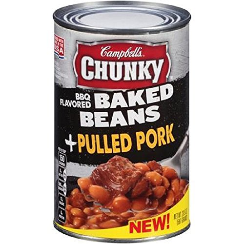 Campbells, Chunky, BBQ Baked Beans, 20.5oz Can (Pack of 6) (Choose Meat Below) (with Pulled Pork)