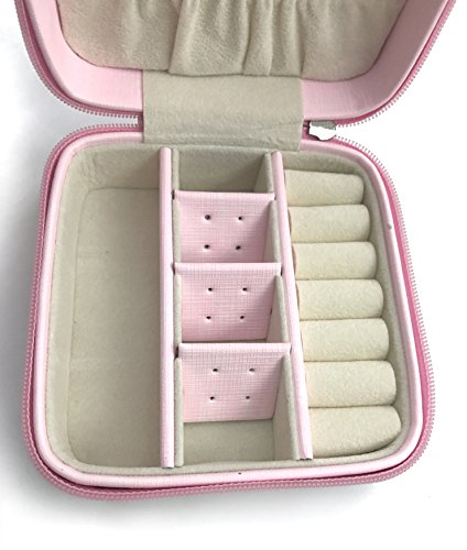 Iremico Small Portable PU Leather Travel Jewelry Box Display Organizer Storage Case for Earrings Necklace Rings (Pink-New) by Iremico (Image #2)