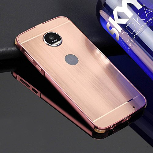 MOTO Z Play Funda, Bonice Premium Luxury Ultra Elegante Metal Aluminum Frame Hard PC Back Carcasa [Touch Pen] - Metal negro Metal rosa oro