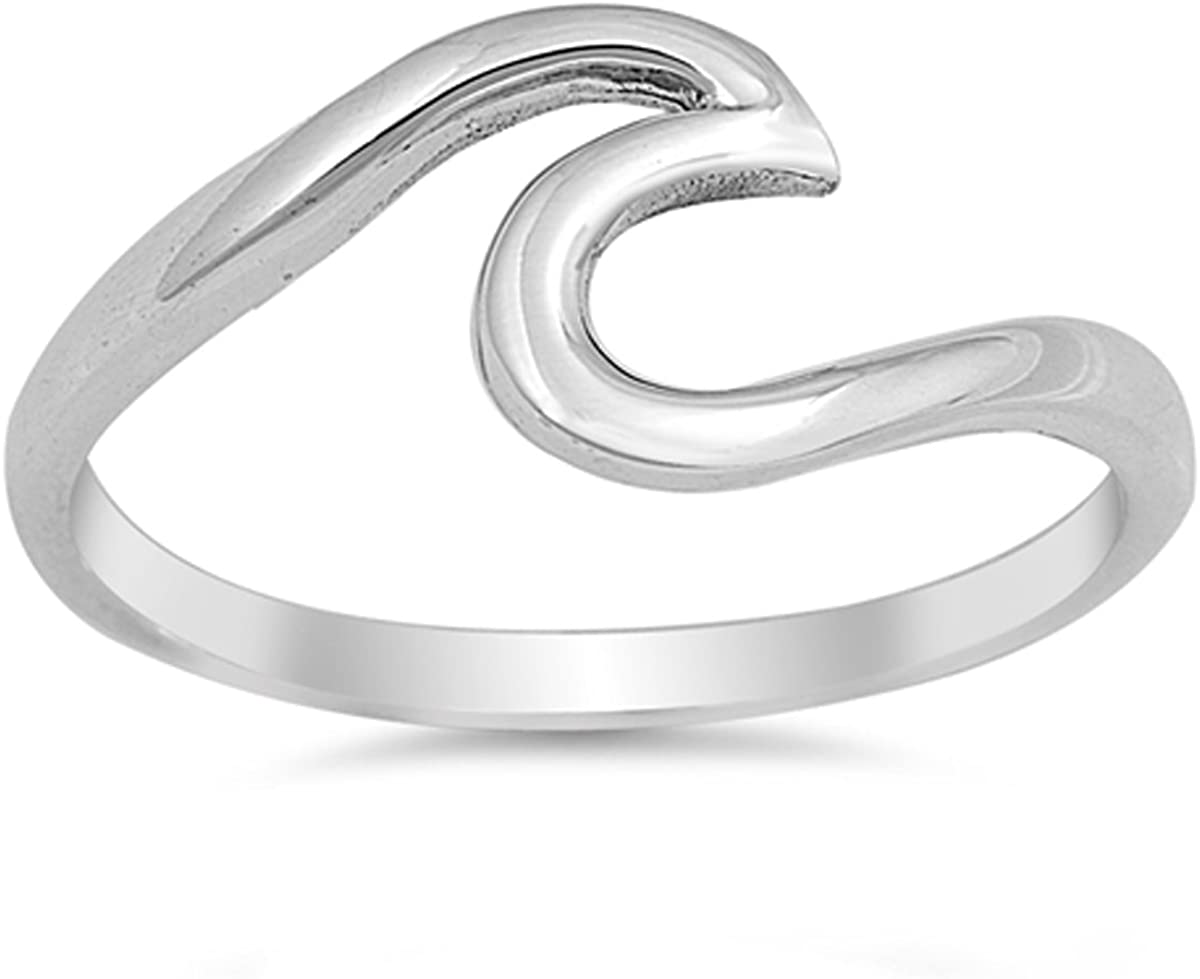 Women Sterling Silver Wave Ring 7mm Free Gift Box