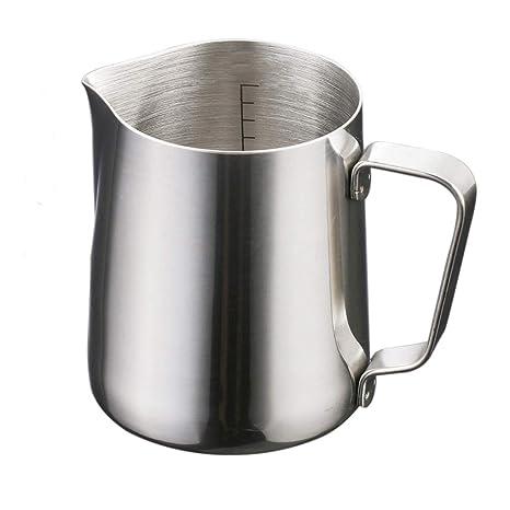 Jarra de leche de acero inoxidable de 150 ml, para calentar leche, con mango resistente al calor para café, café con leche, espuma de leche, 1 unidad, ...