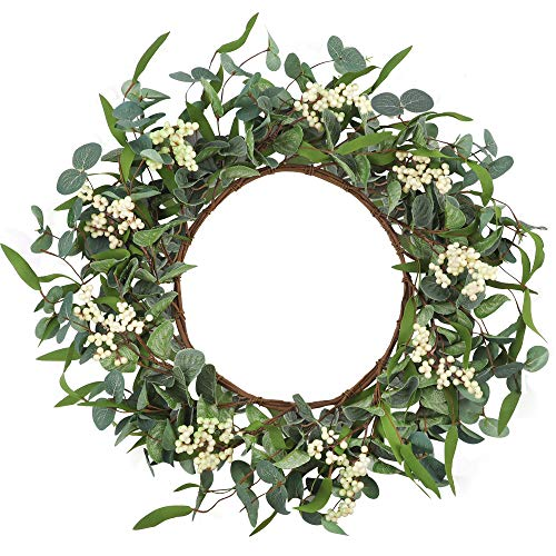 CEWOR Artificial Eucalyptus Wreath 20inch Large Green Leaf Wreath for Festival Celebration Front Door Wall Window Party…