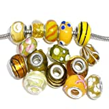 Ten (10) Pack of Assorted Yellow Glass Lampwork, Murano Glass Beads for European Style Bracelets