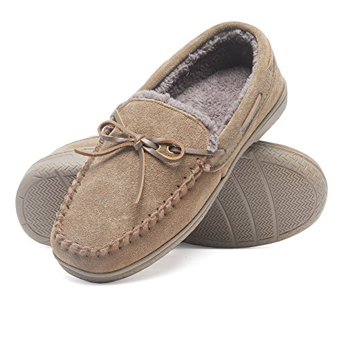 - Heat Edge Mens Memory Foam Suede Slip on Indoor Outdoor Moccasin Slipper Shoe (12, Taupe)