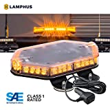 LAMPHUS NanoFlare NFMB40 12' 40W LED Mini Light Bar [SAE Class 1] [72 Flash Patterns] [12ft Cord] [Magnet or Permanent] Emergency Strobe Hazard Warning Light - Amber