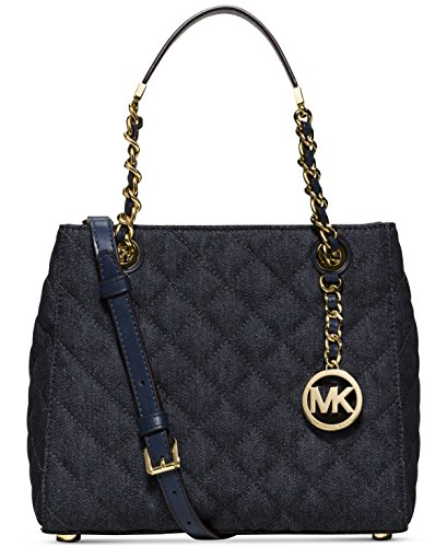 MICHAEL Michael Kors Womens Susannah Quilted Satchel Handbag Blue Small