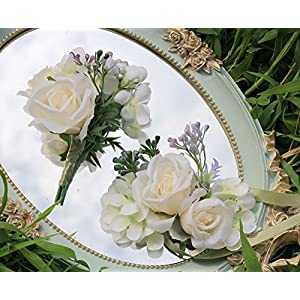 Wrist Corsage with Boutonniere Set Rose Artificial Flower Brooch for Wedding Prom Party 101