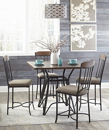 Zenoly Contemporary Two-tone Color Square Counter Table And 4 Barstools