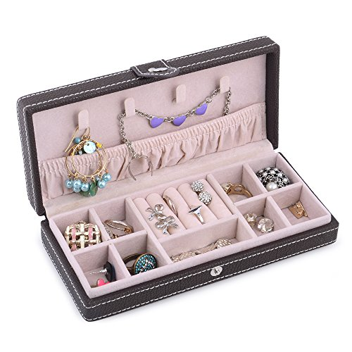 Kendal Small Leather Jewelry Box Travel Case Storage Portable Brown Organizer LJC01BN