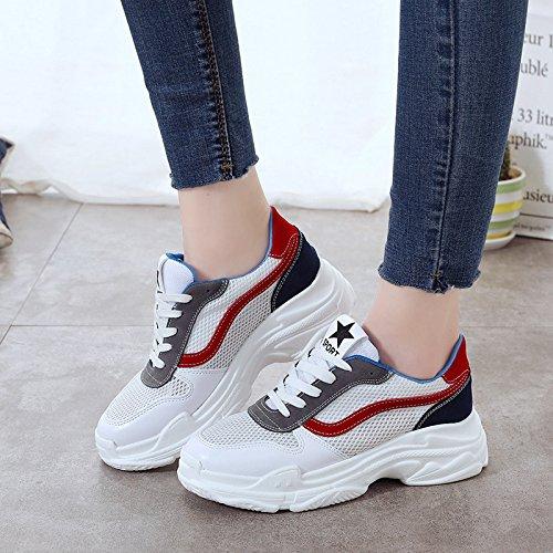 NGRDX&G Malla Transpirable Calzado Deportivo Zapatos De Mujer White red