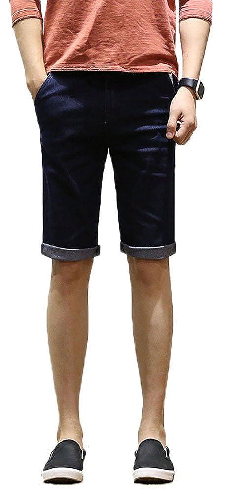 Plaid& Plain Men's Skinny Shorts Jean Shorts Men's Denim Shorts 01-FT-M1240