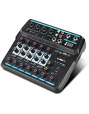 XTUGA AM6 - Mezclador de sonido de 6 canales con Bluetooth USB Record 48V efectos Phantom Power Monitor Paths Plus, Uso para producción de música en casa, webcast, canción K