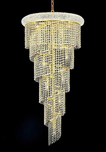 Elegant Lighting 1801SR22G/EC Spiral Collection 18-Light Hanging Fixture No Neck Elegant Cut Crystals with Gold Finish