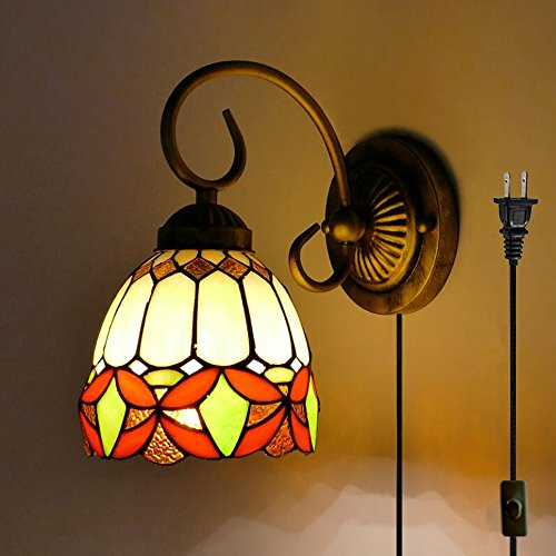 - Kiven Tiffany Wall lamp E26 1-Light Plug-in Bulb not Included Wall Sconce Glass Shade 6 Foot Black Cord(BD0525)