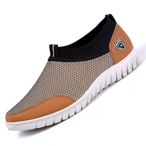 Slipon uomo Beige Uomo Fluores Sneakers Scarpe casual Mocassini Calzature Confortevole Summer Scarpe Walking Traspirante da Mesh tZZaOzq