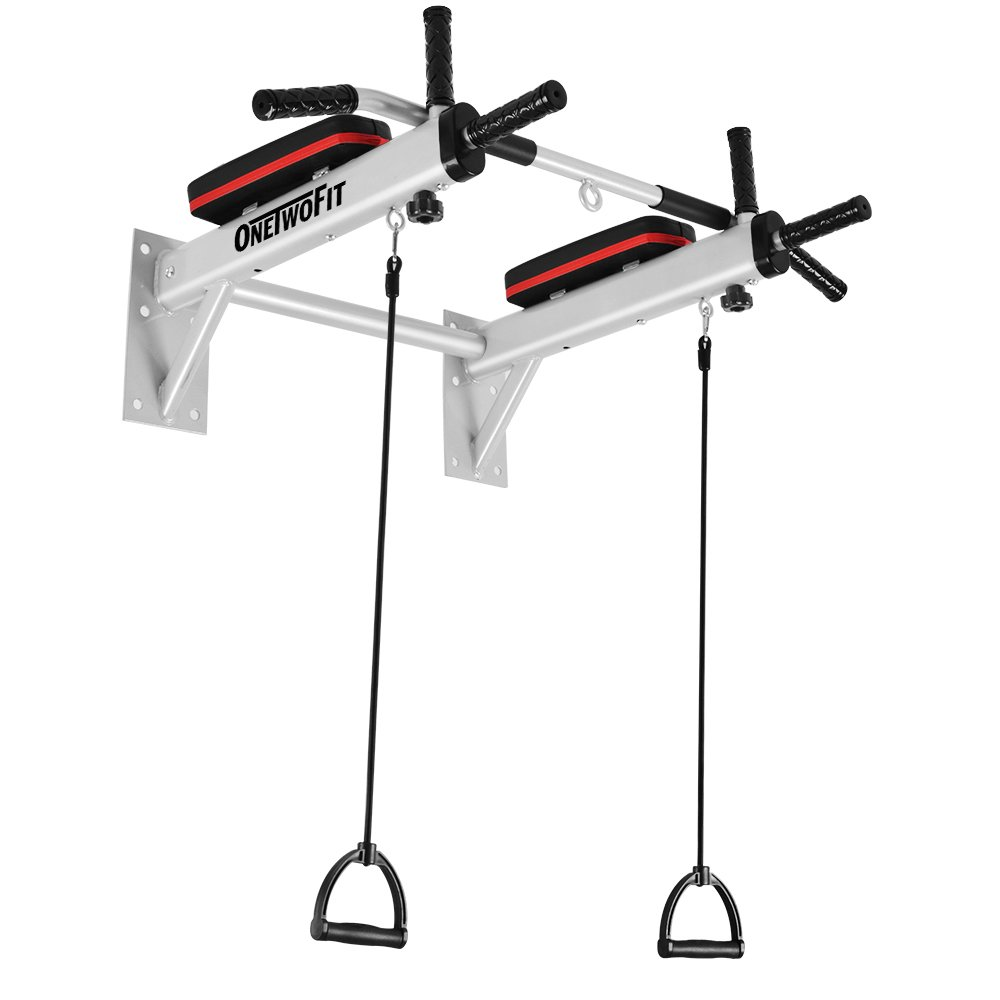 OneTwoFit Wall Mounted Pull Up Bar Chin Up Exercise Bar Gym Dip Station Home Full Body Trainer with Punching Bag Eyelet for Boxing Power Ropes OT066