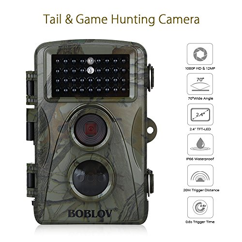 Hunting Wildlife Camera 1080p 12mp HD IR LEDS Infrared Night Vision 20m / 65ft IP66 Waterproof PIR Motion Detect Game Trail Cam 0.6s Trigger Time (Camo 0.6s, 34pcs 940nm IR LEDS)