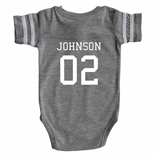 Custom Football Baby Bodysuit Personalized with Name and Number (3-6M (6M), Heather Gray)