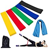 YAHEY Resistance Bands,Set of 5 Elastic Loop Exercise Bands for Yoga,Weight loss,Rehab,Home workouts and so on,with Cooling Towel,Instruction Manual&Carry Bag