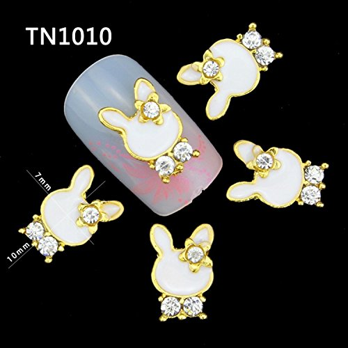 10pcs/pack New Artificial Diamond Bunny Shape Studs For Nails Charms Alloy Metal Rhinestones 3D Decorations Nails Art