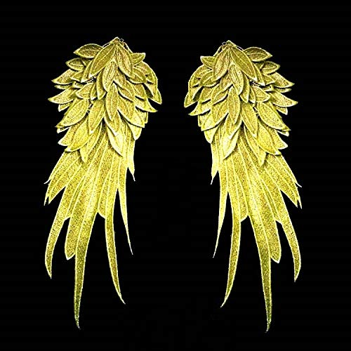 Diy Angel Wings Costume (1Pair White Embroidered Angel Wings 15.8 6.2 inch (Gold)