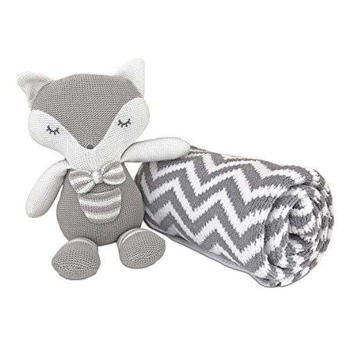 Living Textiles Chenille Chevron Blanket (Grey) and Plush Toy (Charley The Fox) ()