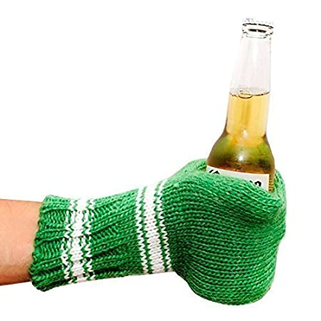 Suzy Beer Mitt, Knit Beverage Insulating Koozie, Beer Glove Keeps Your Drink Cold and Your Hand Warm Knit Beer Mitt