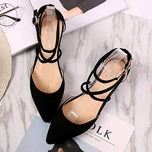 ZOMUSA Women's Fashion Casual Point Toe Buckle Strap Square Heel Sandals Med Heel Shoes Black by ZOMUSAR (Image #5)