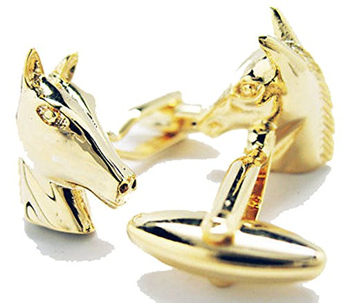 Mens Executive Cufflinks Gold Tone American Saddlebred Race Horse Head Cuff Links (Head Racehorse)